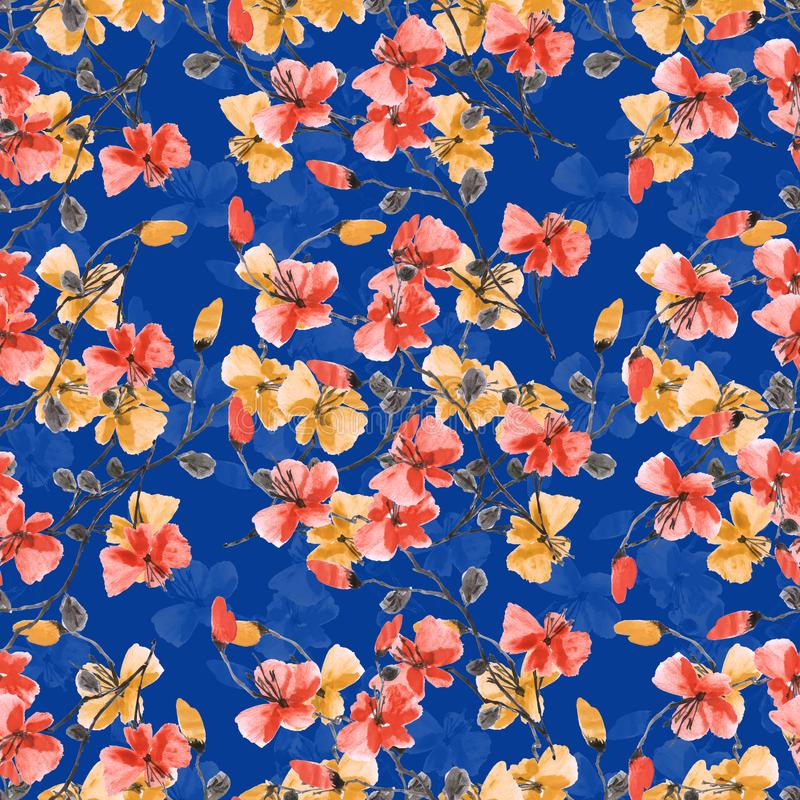 Seamless pattern small wild red and yellow flowers on a deep blue background. Floral background. Watercolor. stock photo
