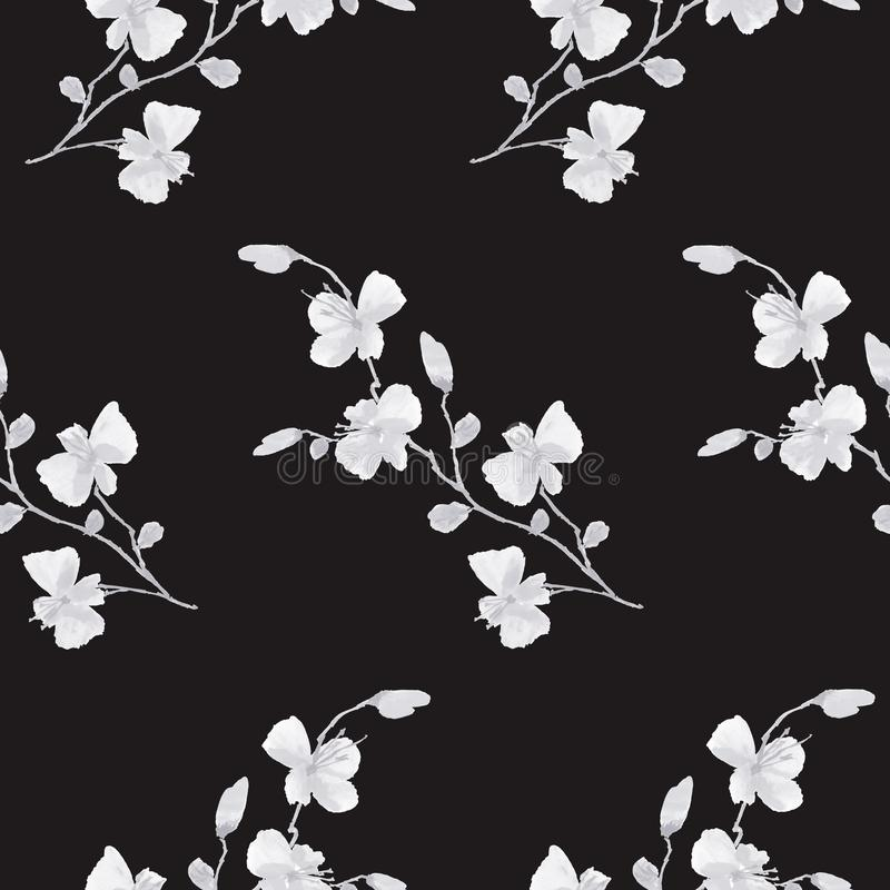 Seamless pattern small wild white cherry plum flowers on the black background. Ornament. Watercolor - 1 vector illustration
