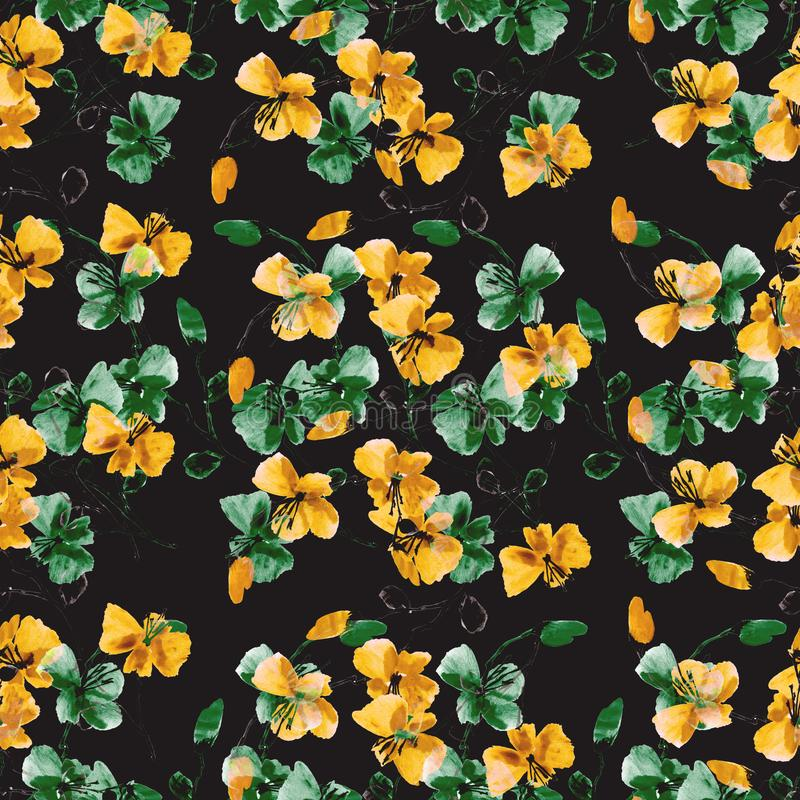Seamless pattern small wild yellow and green flowers on the black background. Floral background. Watercolor. vector illustration