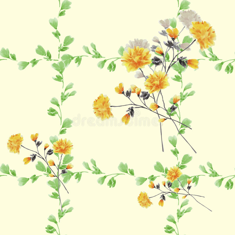 Seamless pattern small yellow flowers and bouquets and green branches on a light yellow background. Watercolor stock photography