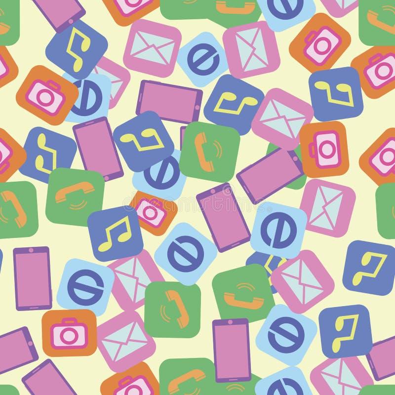 Seamless pattern smartphone photo internet music call stock illustration