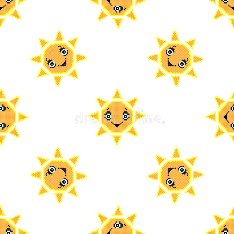 Seamless pattern with smile sun. Pixel art background, vector illustration. Retro game style. Seamless pattern with smile sun. Pixel art background, cartoon royalty free stock image
