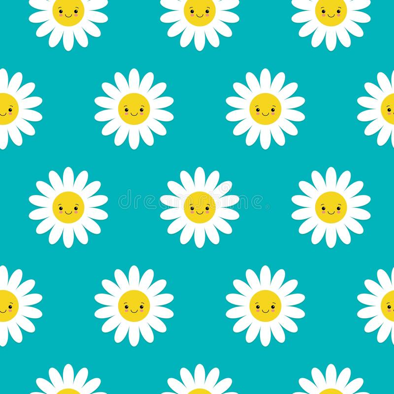 Seamless pattern with smiley daisies. Fun and cute texture with cartoon chamomile. Seamless pattern with smiley cute daisies. Fun and cute texture with cartoon royalty free illustration