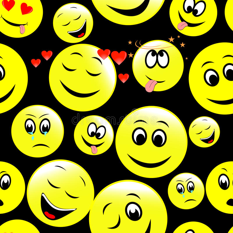 Seamless pattern of smiley faces expressing different feelings. royalty free illustration