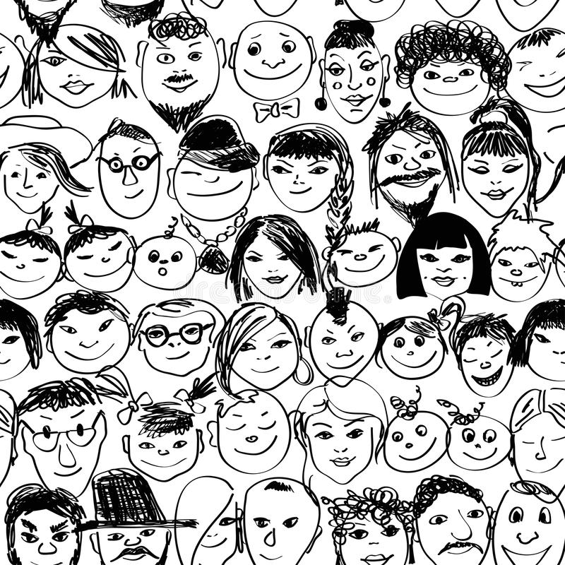 Seamless pattern of smiling crowd people royalty free illustration