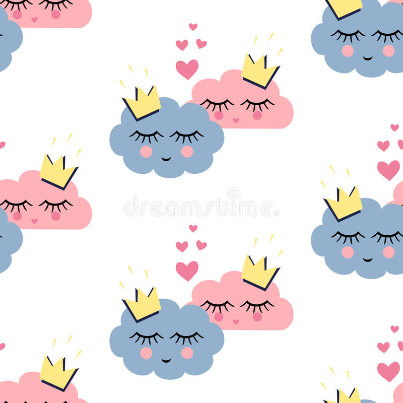Seamless pattern with smiling sleeping clouds in love on white background. royalty free illustration