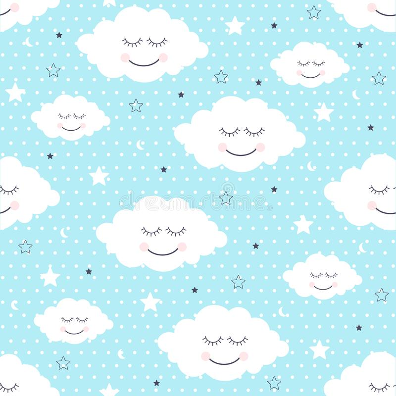 Seamless pattern with smiling sleeping clouds and stars. Vector illustration royalty free illustration