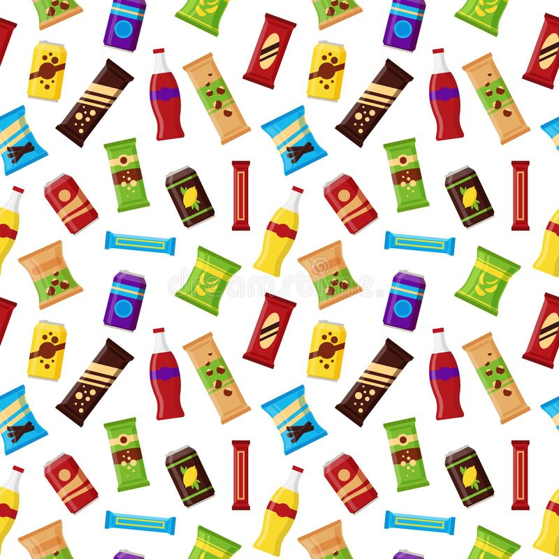 Seamless pattern snack product for vending machine. Fast food snacks, drinks, nuts, chips, juice for vendor machine bar. On white background. Flat illustration vector illustration