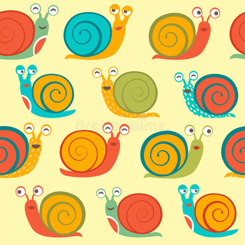 Seamless Pattern With Snails Royalty Free Stock Photography