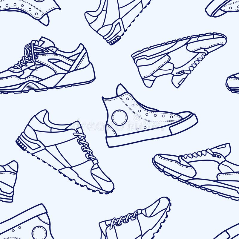 Seamless Pattern with Sneaker Shoe Flat Line Stroke. Icon Pictogram Symbol Illustration isolated on white background. Backdrop with stylish sneakers or modern stock illustration