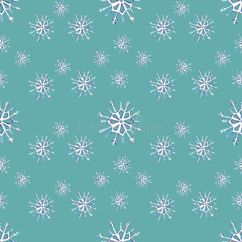 Seamless pattern with snowflakes on blue background stock image