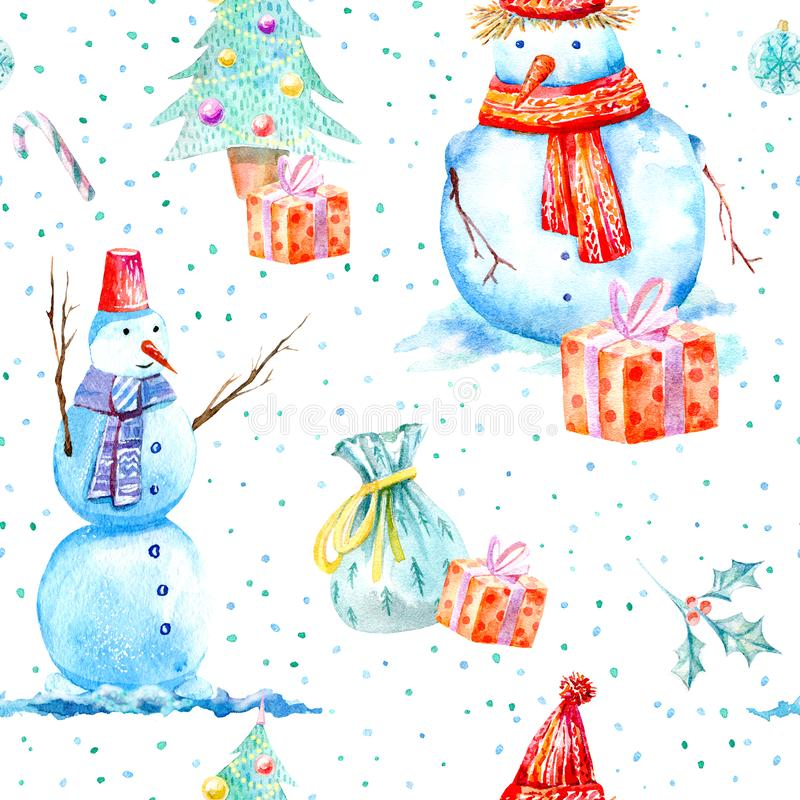 Seamless pattern of a snowman, christmas tree, bag and gift. stock photography