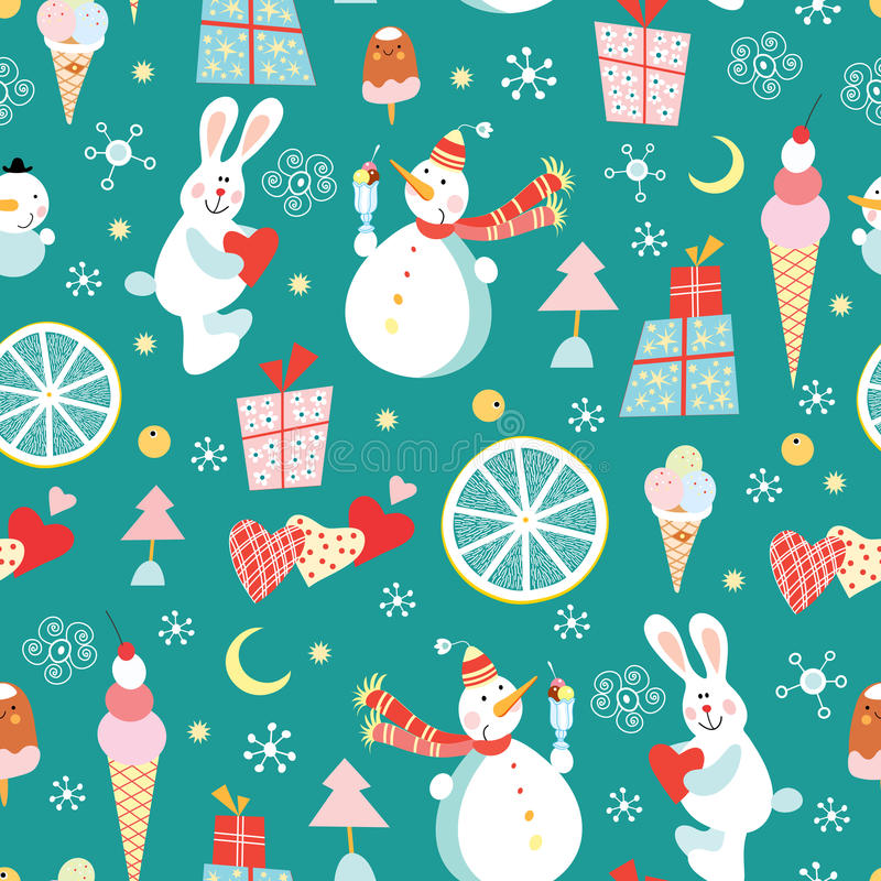 Seamless pattern of snowmen and ice cream and rabb vector illustration