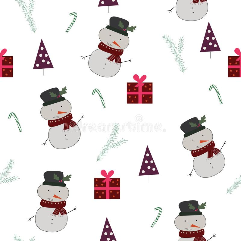 Seamless pattern with snownan, christmas trees, presents royalty free illustration
