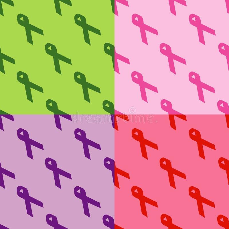 Seamless Pattern: Social Awareness Ribbons stock images