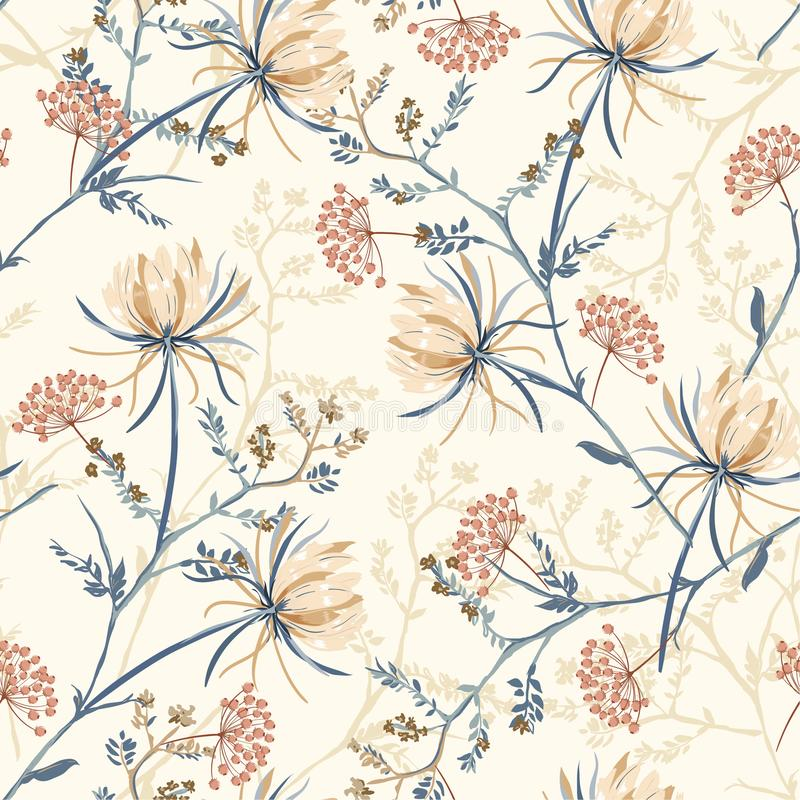 Seamless pattern of soft and graceful oriental blooming flowers,. Botanical vector design for fashion,fabric,wallpaper,and all prints on light beach background royalty free illustration