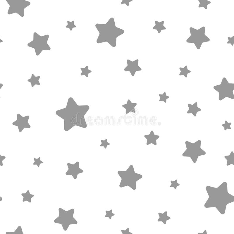Seamless pattern with soft grey stars on white background. Seamless abstract pattern stock illustration