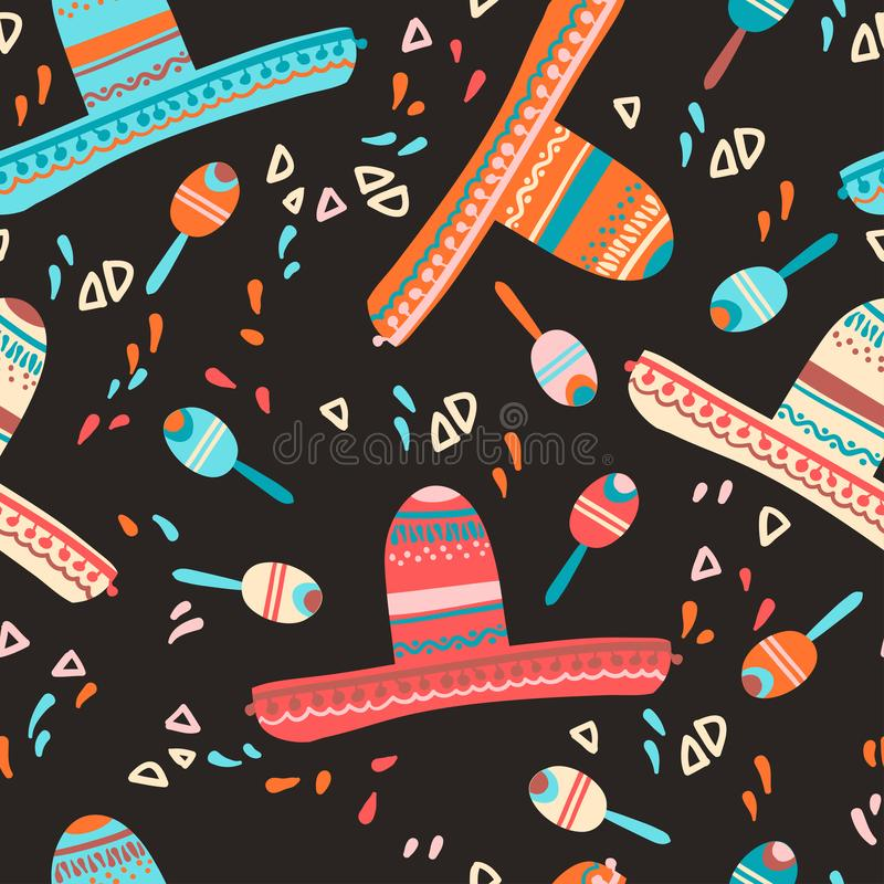 Seamless pattern with sombrero hat, maracas and decorative elements. Mexican children mood. Vector illustration stock illustration