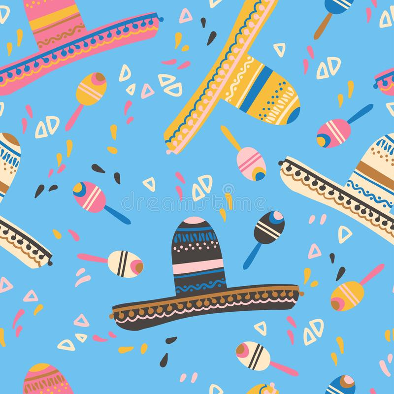 Seamless pattern with sombrero hat, maracas and decorative elements. Mexican children mood. Vector illustration vector illustration