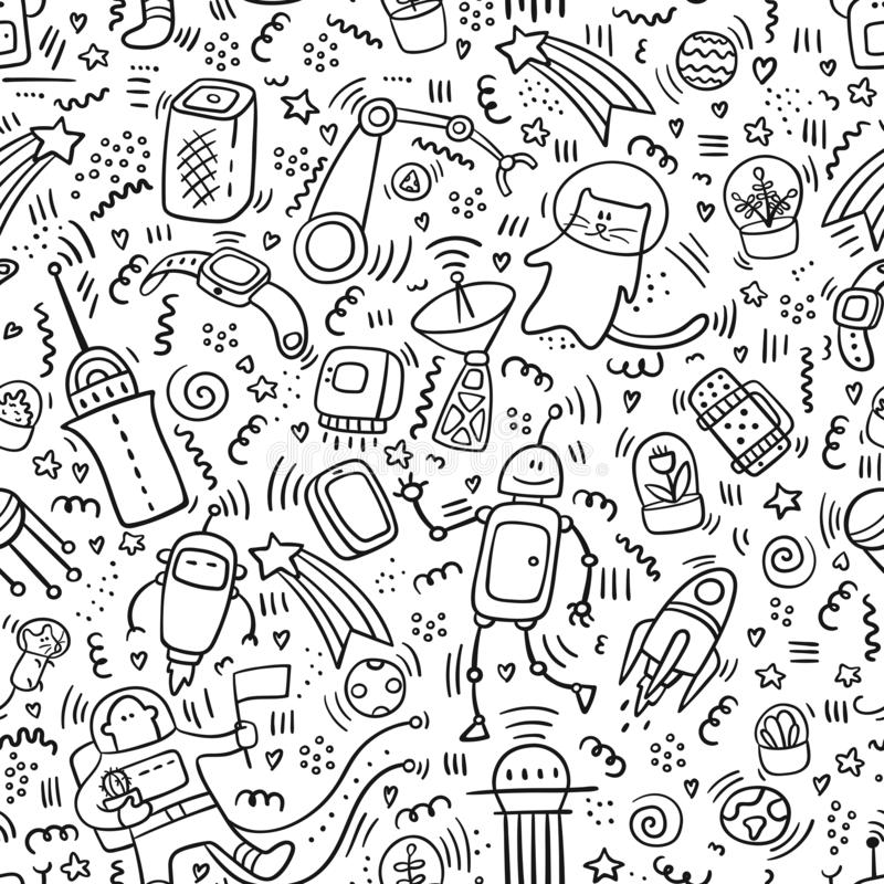 Seamless pattern space doodles. Robot and Technic doodles. Future concept with astronaut, planets,spaceships, stars, planets, royalty free illustration