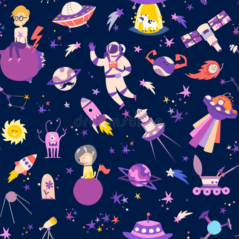 Seamless pattern with space elements vector illustrations. royalty free illustration