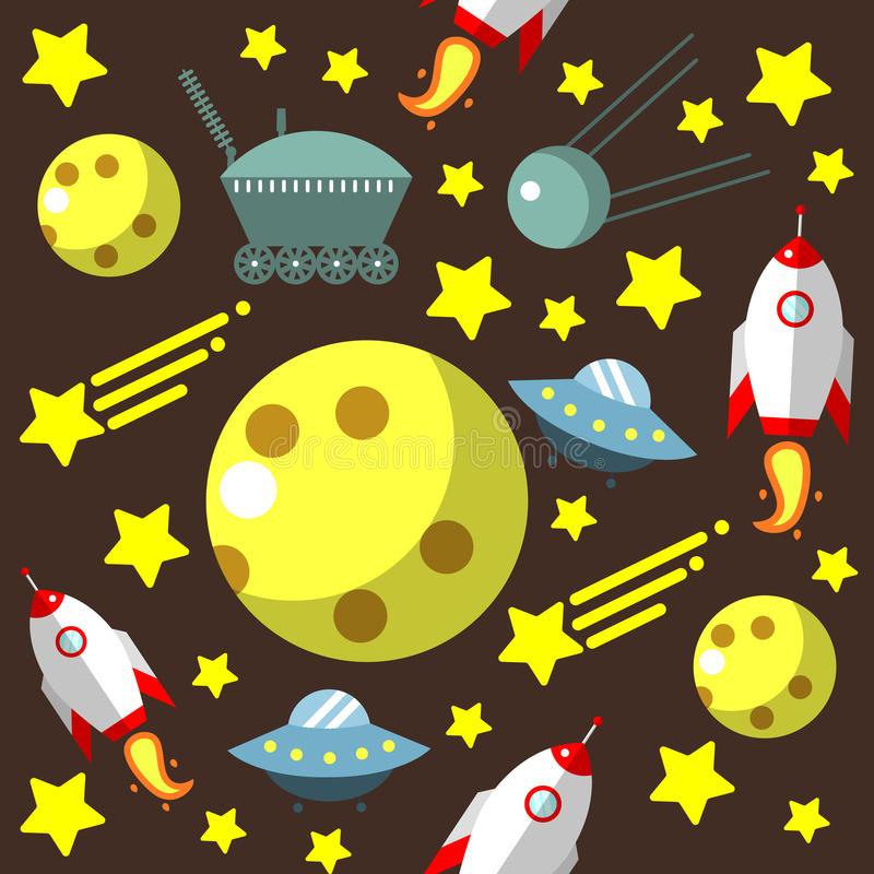 Seamless pattern with space, rockets, comet, stars and moon and UFO royalty free illustration