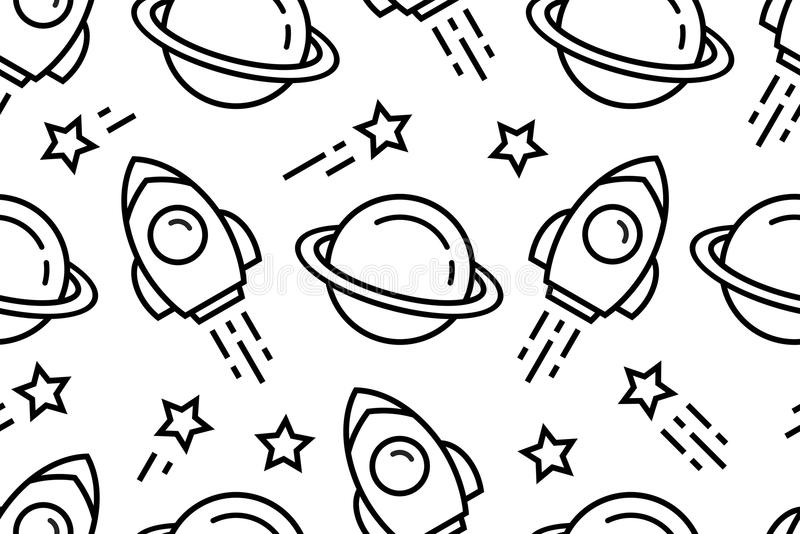 Seamless pattern with space stock illustration