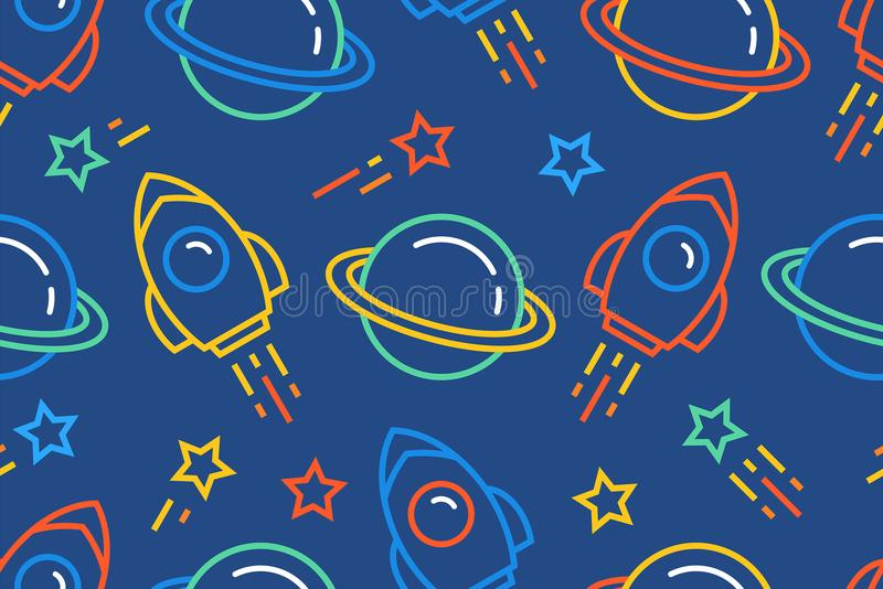 Seamless pattern with space royalty free illustration