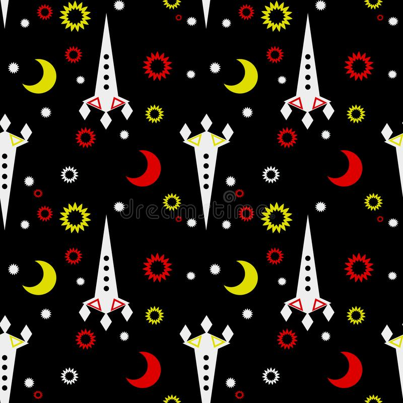 Seamless pattern of space and stars. Kid`s childish background. vector illustration