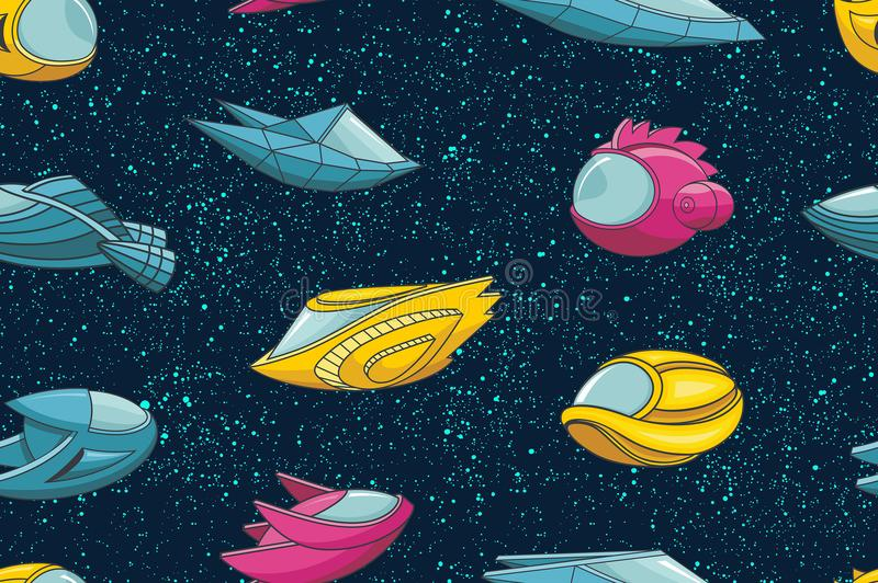 Seamless pattern with spacecrafts and stars stock illustration