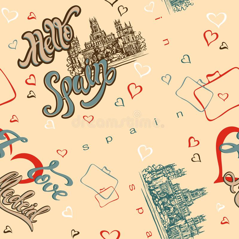 Seamless pattern. Spain. Madrid. Inspiring lettering. Greeting. Travel. Sketch of the Cathedral. Background with hearts. Vector il stock illustration