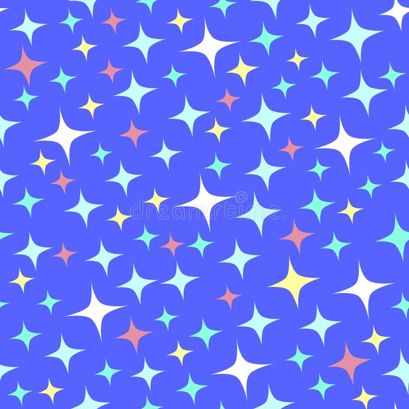 Seamless pattern with bright sparkles on blue. vector illustration