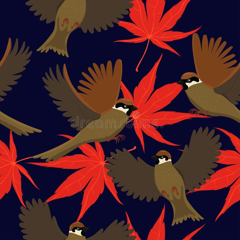 Seamless pattern with sparrows and autumn leaves. Vector graphics stock illustration