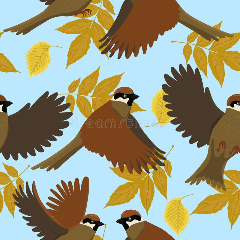 Seamless pattern with sparrows and autumn leaves. Vector graphics vector illustration