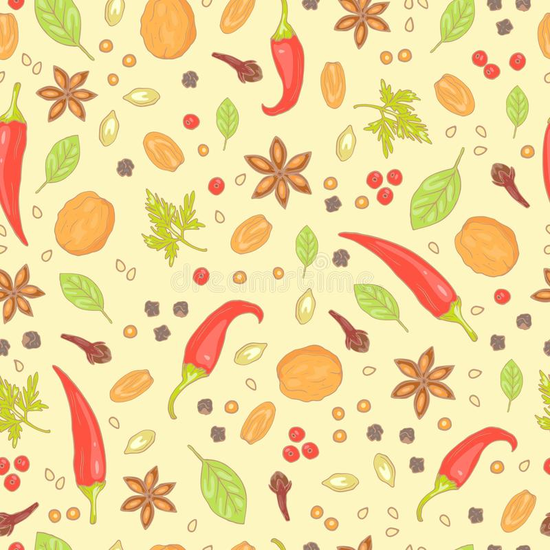 Seamless pattern of spices as pepper and chili, walnut and nutmeg, bay leaf and sesame, anise and seeds. Hand drawn. Vector illustration of background vector illustration