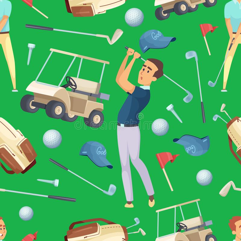 Seamless pattern with sport illustrations at golf theme. Background with equipment for golfer vector royalty free illustration