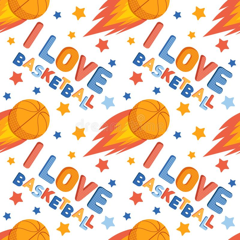 Seamless pattern sports games. Background with stars, a Basketball ball, the inscription I love basketball. Colorful children s stock illustration