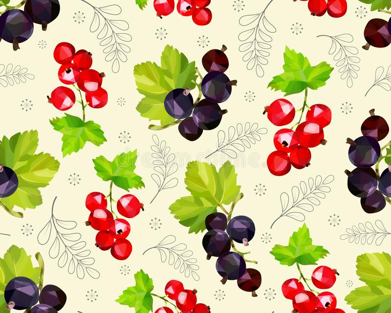 Seamless pattern with sprigs of red and black currants stock illustration
