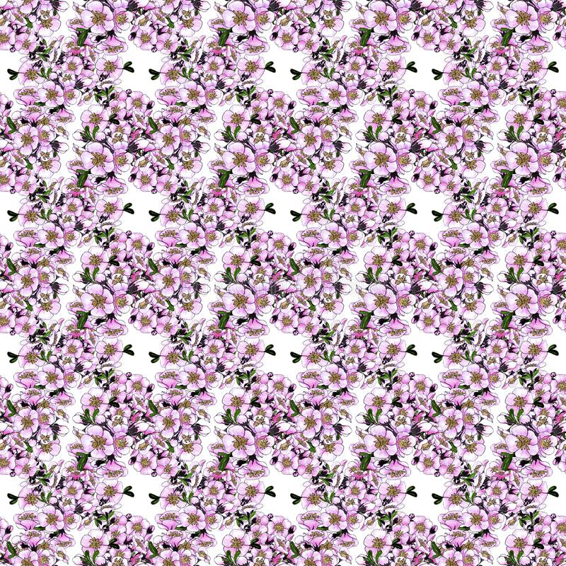 Seamless pattern. Spring flowers. Blooming tree.Collage of flowers on watercolor background. stock photography