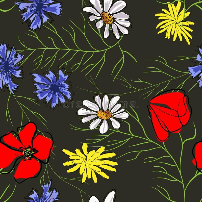 Seamless pattern of spring flowers. Poppy, chamomile, cornflower. Illustration on black background stock illustration
