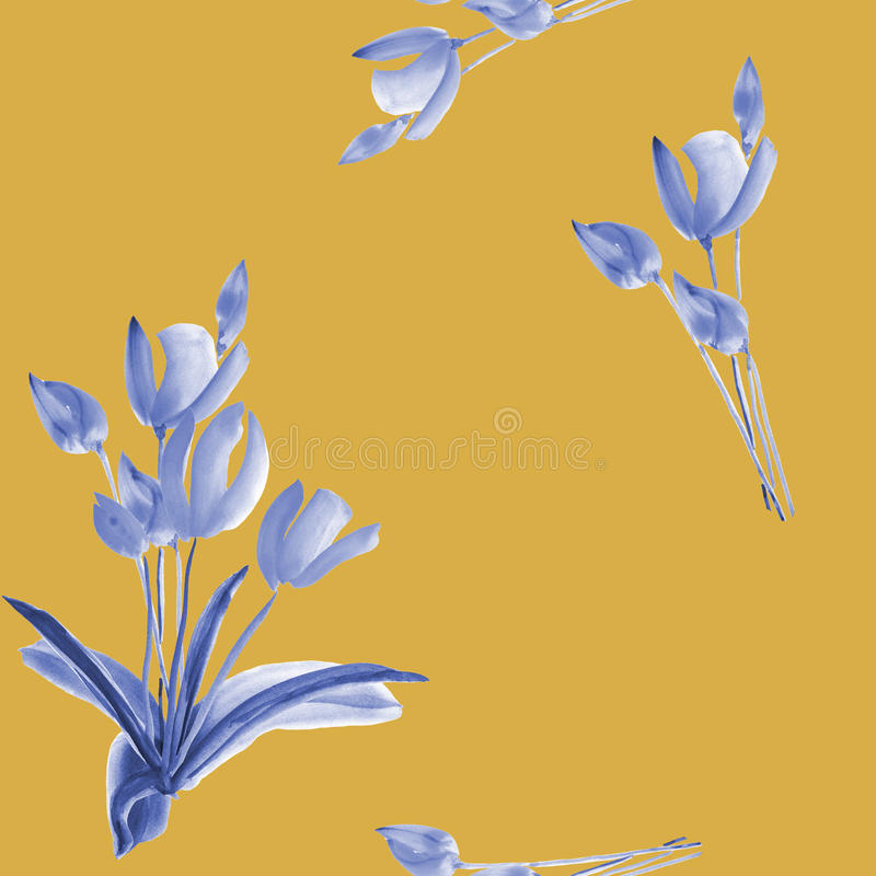 Seamless pattern of spring tulips with blue flowers on a deep yellow background. Watercolor stock image