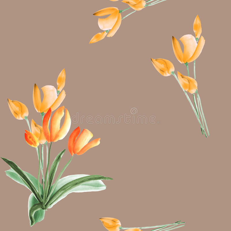 Seamless pattern of spring tulips with orange flowers on a beige background. Watercolor stock image