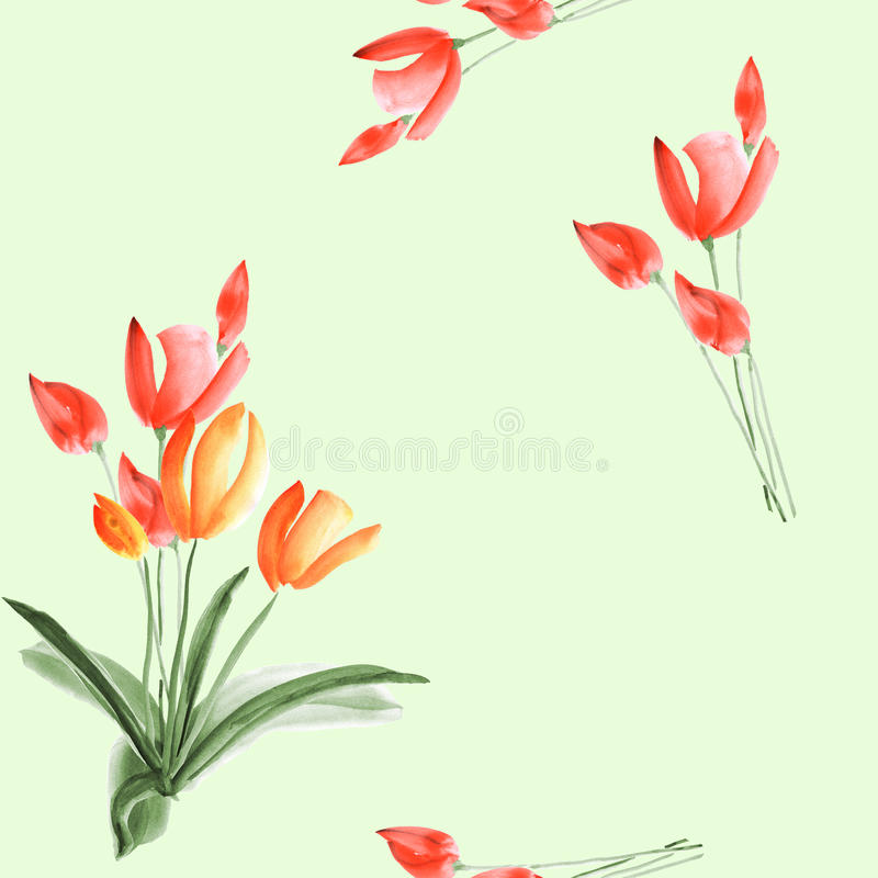 Seamless pattern of spring tulips with red flowers on a light green background. Watercolor royalty free stock images