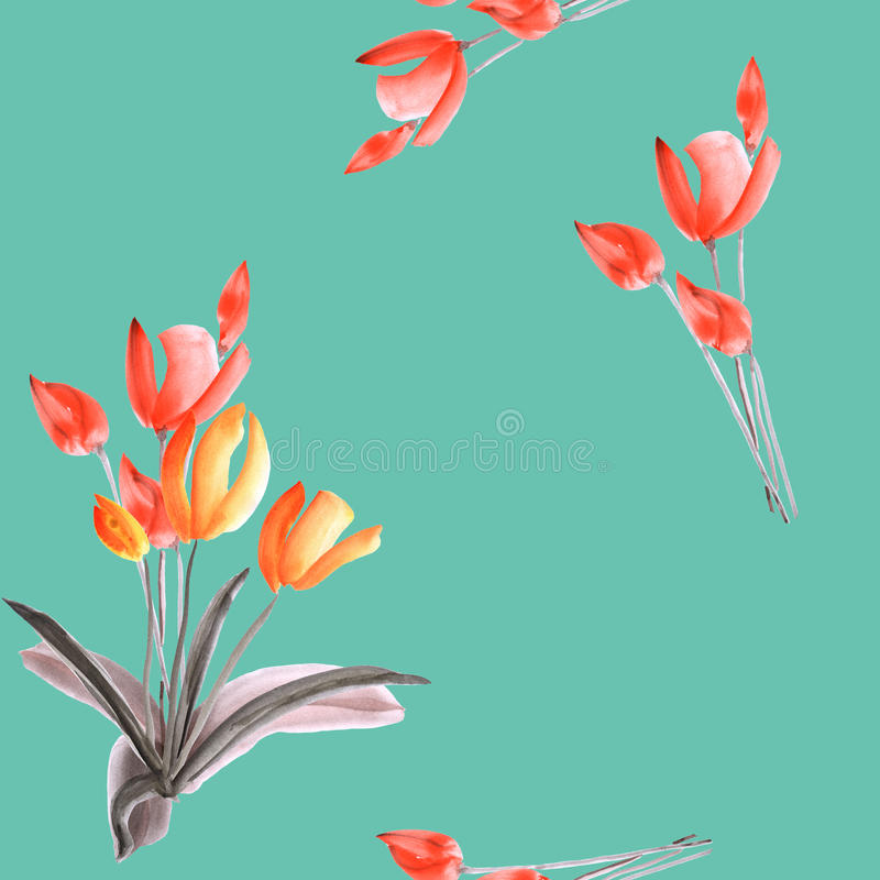 Seamless pattern of spring tulips with red flowers on a turquoise background. Watercolor royalty free stock images