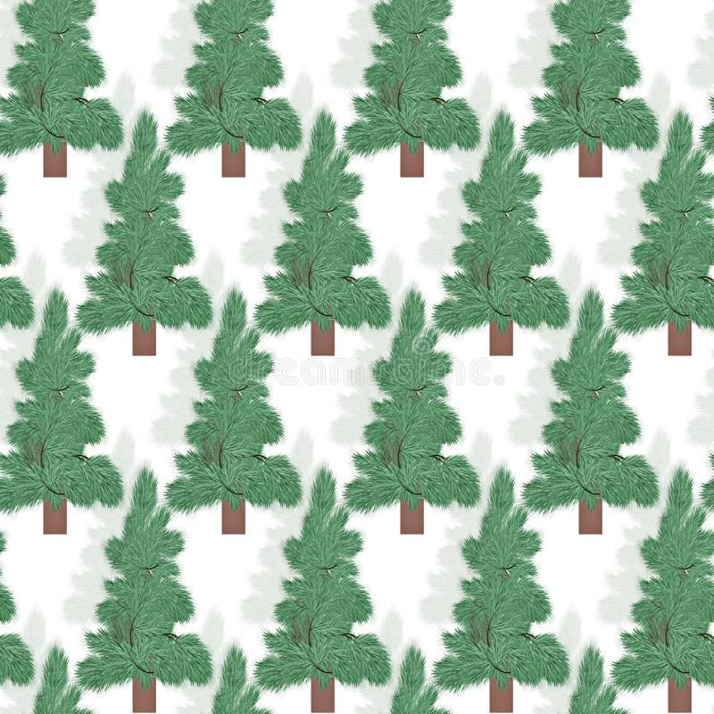Seamless pattern.Spruce coniferous forest on a white background winter vector illustration
