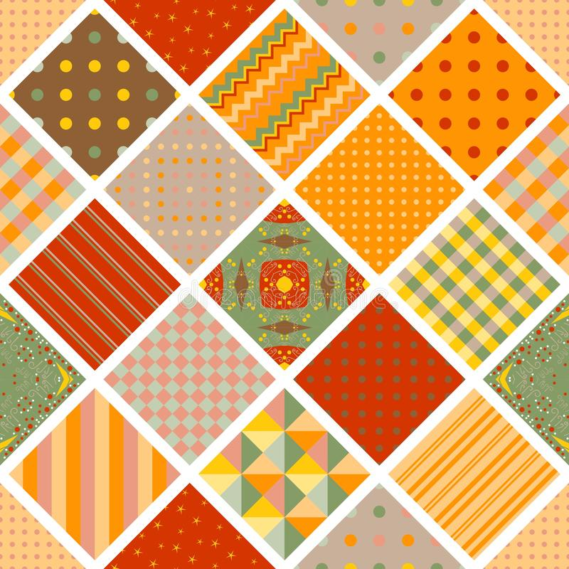 Seamless pattern from squares with geometric ornament. Colorful patchwork print. Bright design for textile, fabric, wrapping paper vector illustration