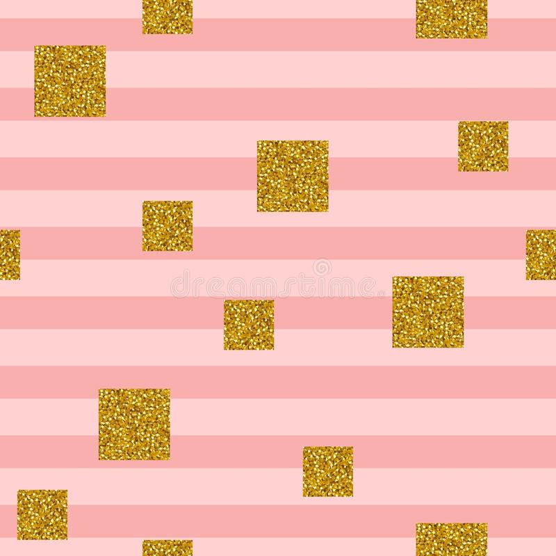 Seamless pattern with squares of golden glitter on striped background royalty free illustration