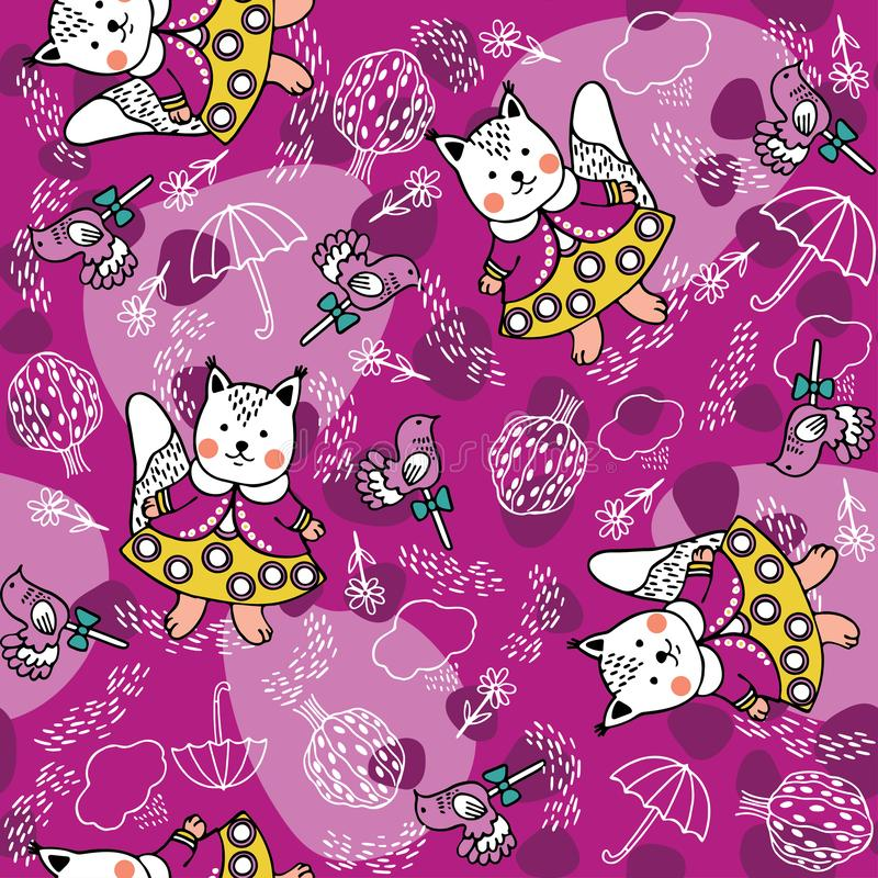 Seamless pattern with squirrels, lollipops, trees and clouds. royalty free illustration