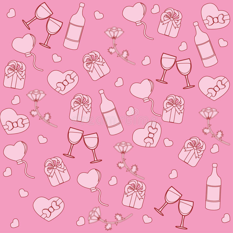 Seamless pattern with st. valentine stuff
