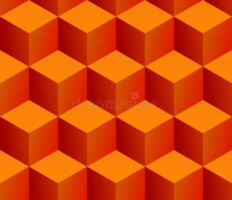 Seamless pattern of stacked isometric orange cubes vector illustration
